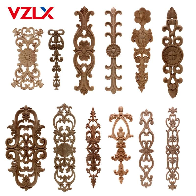 VZLX Unpainted Wood Oak Wave Flower Onlay Decal Corner Applique For Home Furniture Decor Decorative Wood Carved Long Applique