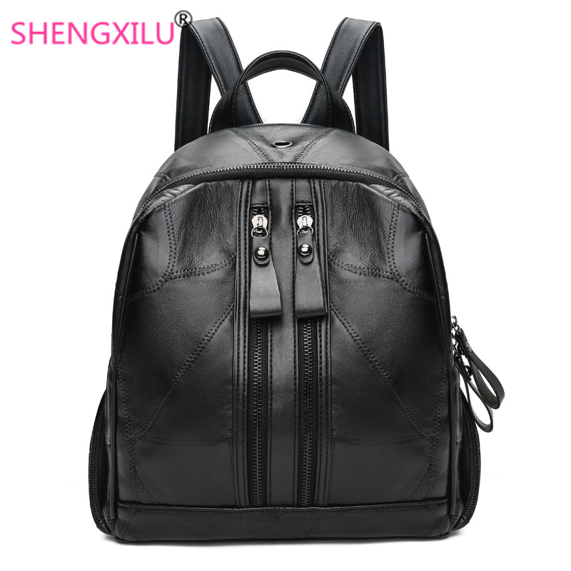 Shengxilu Sheepskin Women Backpacks Genuine Leather Female Rucksack New Large Capacity Travel Preppy Style Black Women Bags