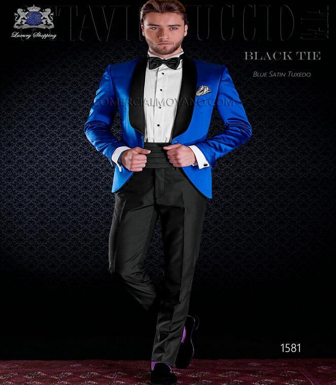 2017 Hot Design Black Lapel Slim Fit Royal Blue Tuxedo