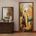 Европейский стиль ретро Рисунок Картина маслом дверь стикер 3D обои Гостиная Спальня домашний Декор ПВХ водонепроницаемые настенные наклей...