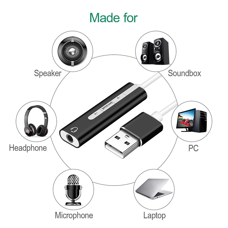 2 In 1 USB External Sound Card USB To 3.5 mm Stereo Jack Headset Audio Adapter DJA99 4
