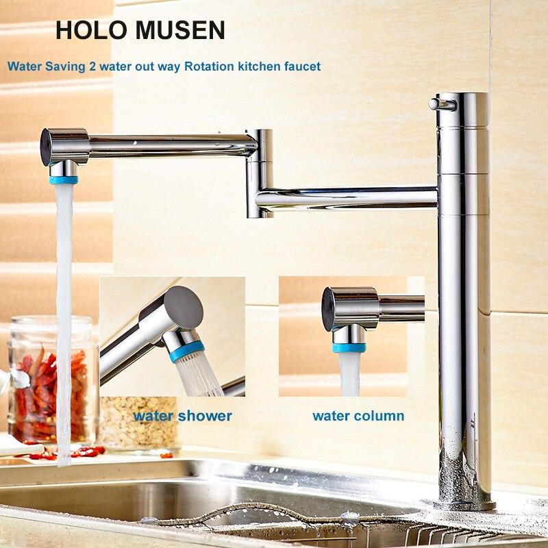 цена на Brass 360 Rotation 2 Water Way Kitchen Faucet Mixer Chrome Kitchen Sink Faucet Flexible Kitchen Faucet Modern Water Saving