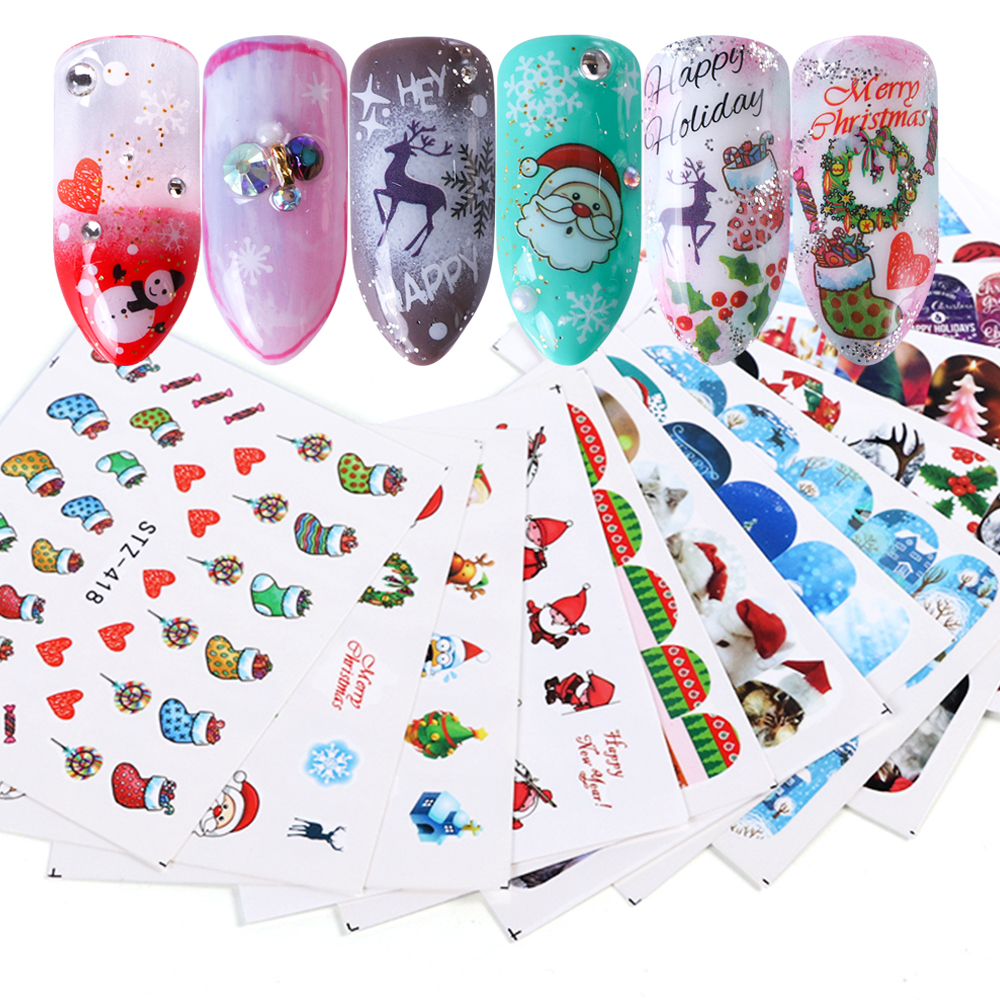 Nail Art Sticker New Year , Tattoo Christmas Water Decal  4