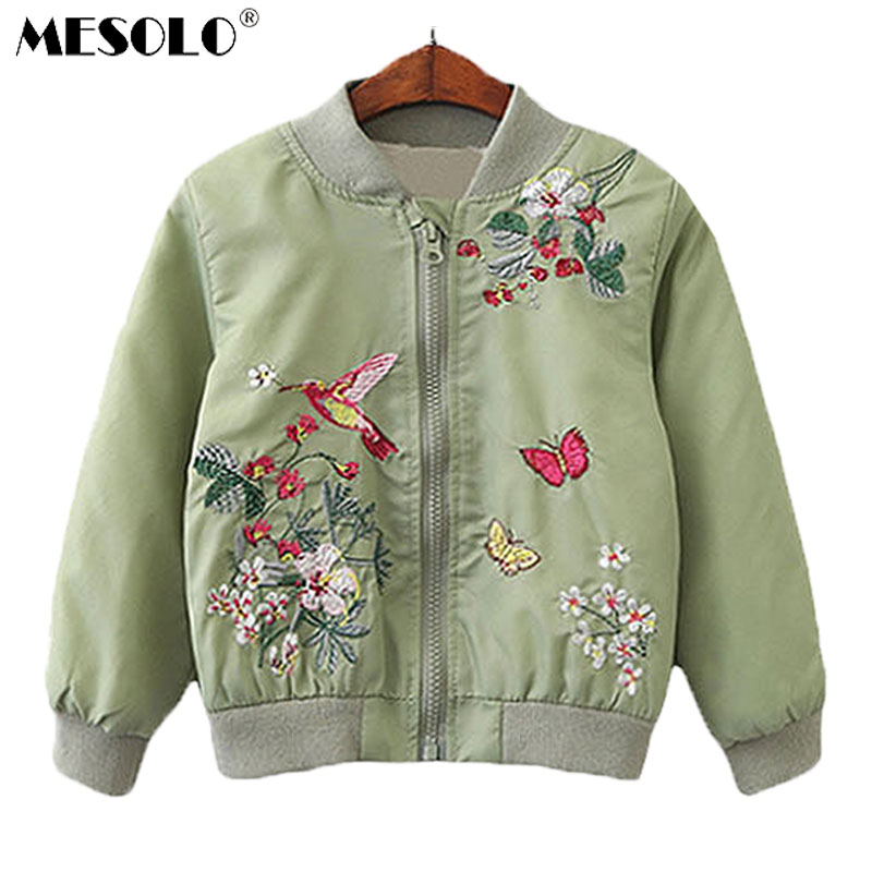 MESOLO Winter Jacket Embroidered Brand Coat Clothing Girls Kids New-Fashion Top Flowers