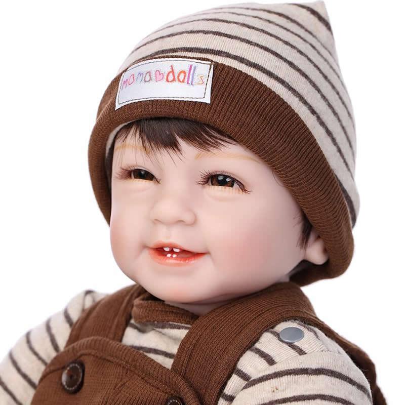 Buy NPK 22 Inch Smiling Reborn Baby Doll Silicone VinylRealistic Newborn Boy Babies Kids Birthday Xmas Gift