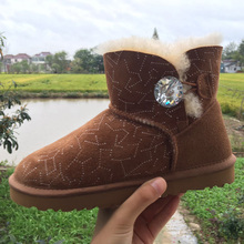 2016 New arrivals snow boots for women with wool paillette genuine leather boots with slip-resistant sewing cotton boots