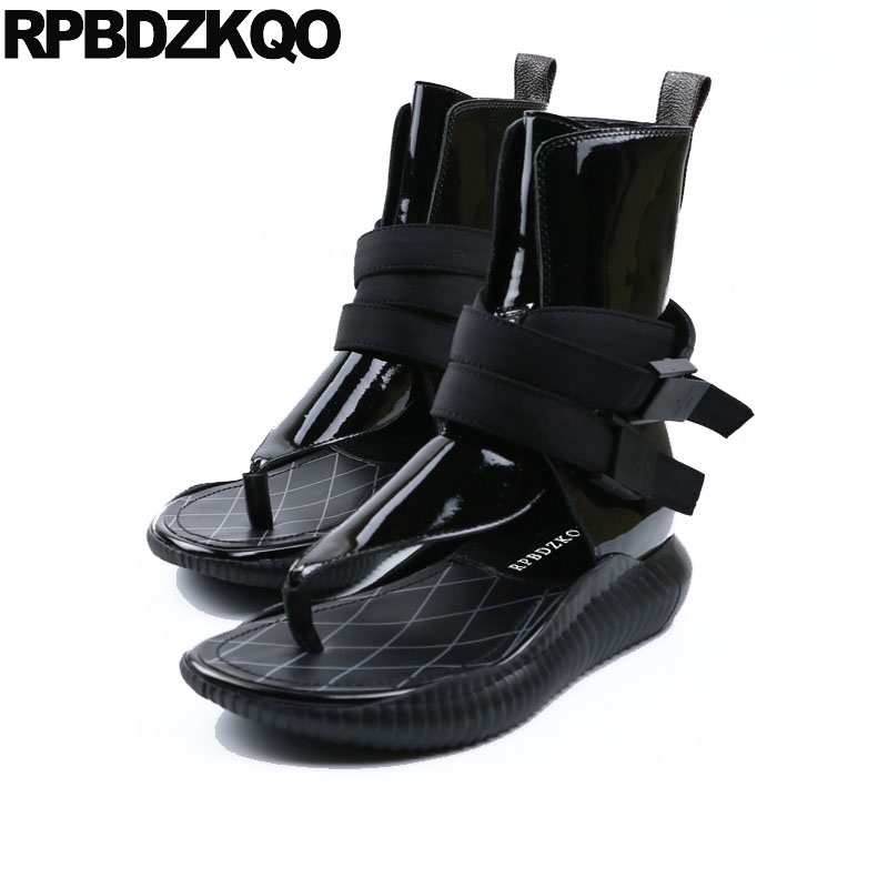 2018 натуральная кожа, роскошная Брендовая обувь, женские короткие лакированные сандалии, ботинки на плоской подошве черного цвета, высокое к...