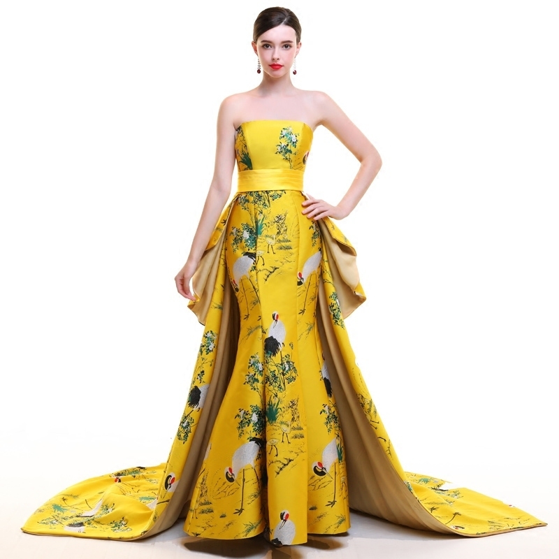 Strapless Trailing Evening Gown Party Dresses Chinese Traditional ...