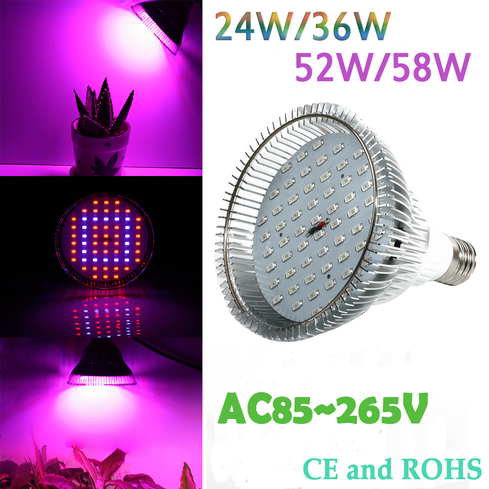 Newest 24W 36W 52W 58W AC85 260V E27 LED Grow Light For Flowering Plant and Hydroponics