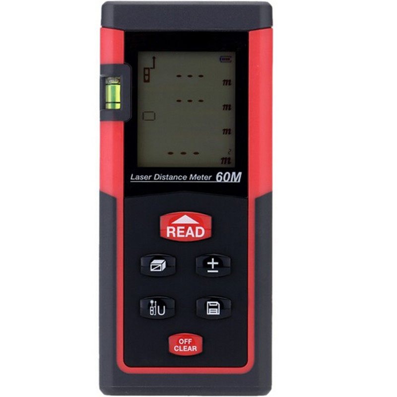 ФОТО Handheld Digital 60M Laser Distance Meter Range Finder For City Planning Water Project Monitoring LCD With Backlight