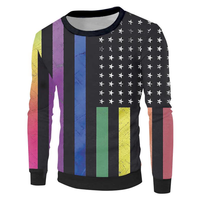 OGKB Новое поступление для женщин/для мужчин прохладный с принтом американского флага 3d Толстовка с круглым вырезом подпушка рукавом в полоску толстовки пуловер в стиле хип-хоп