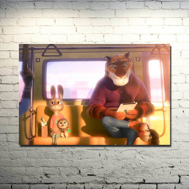 Zootopia Silk Poster 13x20 Inch Judy Hopps Nick Wilde Cartoon Movie Pictures For Living Room Decor
