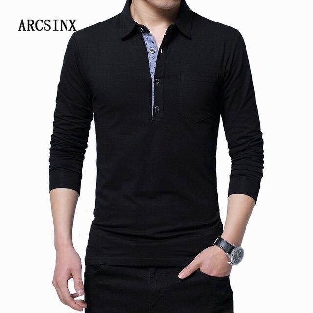 e926ee7d ARCSINX Plus Size Polo Shirt Men 5XL 4XL 3XL Long Sleeve Polo Men Cotton  Mens Polos Shirts Spring Autumn Winter Causal Tee Shirt