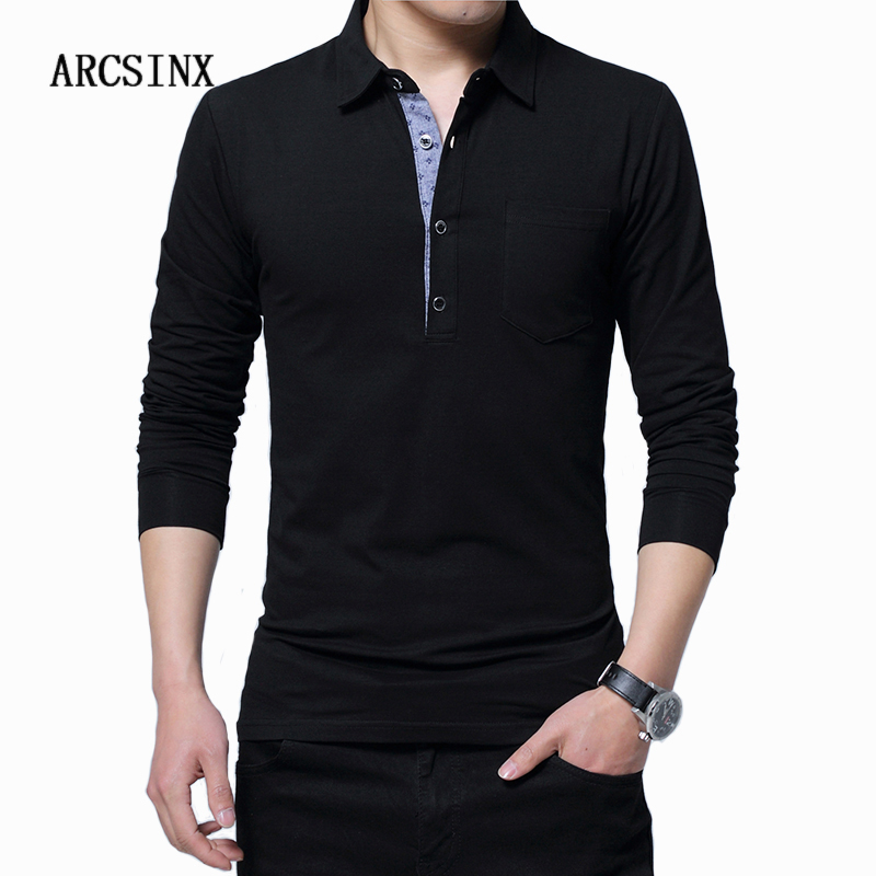 ARCSINX Plus Size   Polo   Shirt Men 5XL 4XL 3XL Long Sleeve   Polo   Men Cotton Mens   Polos   Shirts Spring Autumn Winter Causal Tee Shirt