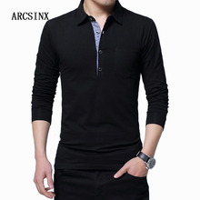 Arcsinx plus size camisa polo homem 5xl 4xl 3xl polo de manga longa dos homens de algodão polos camisas primavera outono inverno causal camiseta