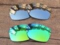 Хром Серебристый и Зеленый 2 Пар Зеркало Поляризованных Сменные Линзы Для Юпитера Squared Солнцезащитные Очки Рама 100% UVA и UVB Защиты