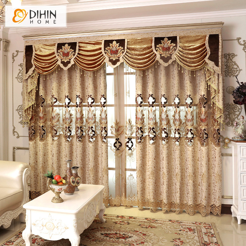 DIHIN HOME Luxury Chinese Style Valance Curtain Blackout Curtains For Living  Room Custom Made Curtain Drapes