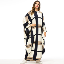 Over size Middle East Women Abaya Muslim dress Batwing Sleeve Kaftan Islamic arabic Turkish lattice Loose Maxi dresses