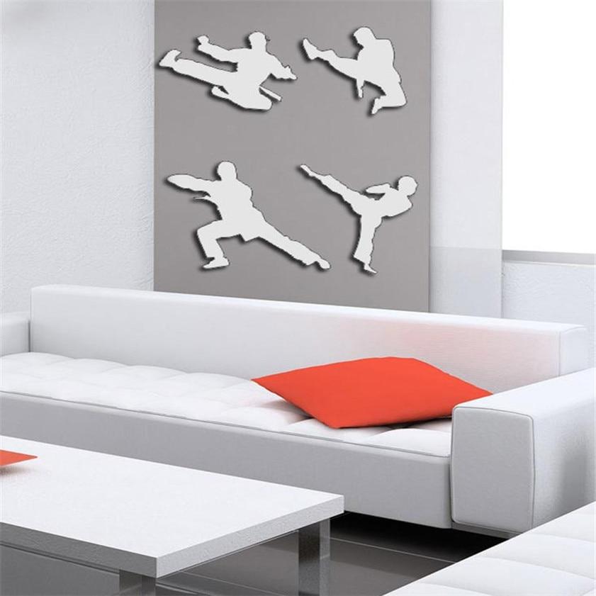 High Quality Wall Stickers Fashion China Kung Fu DIY Mirror Wall Mirrors Wall Sticker Home Decoration Silver Freeshipping