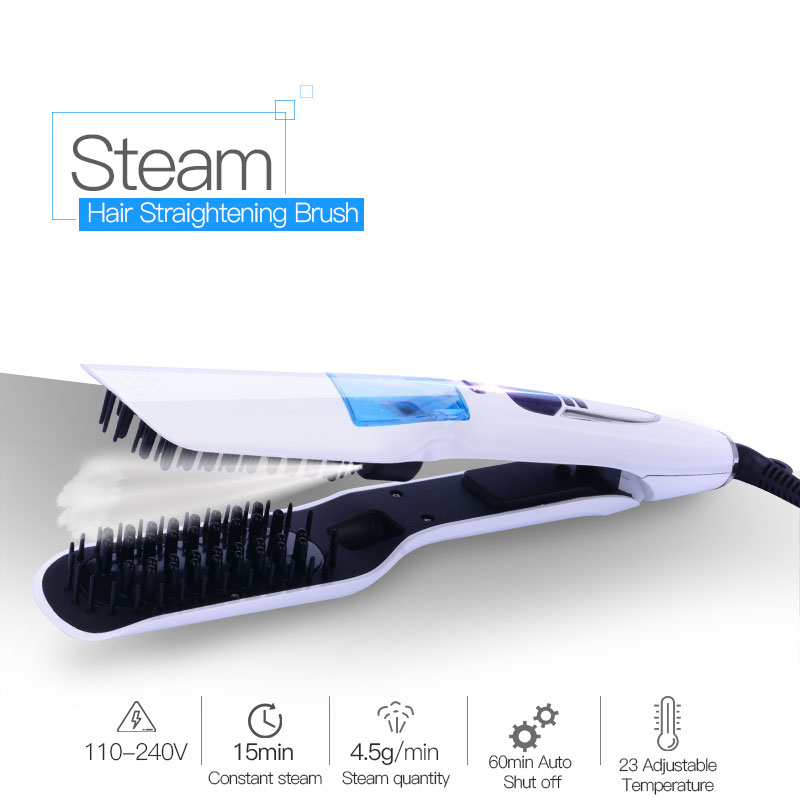 Hair Straight Ceramic Electric Styling Brush Steam Moisturizing Hair Straightener Brush Vapor Spray Fast Flat Iron Comb LCD 3233