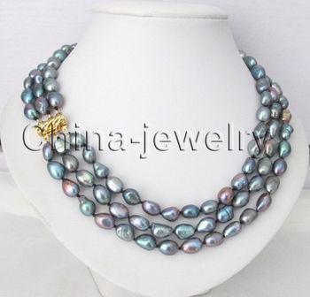 aaa422ad3b3d Envío Gratis  2 filas 9-11mm collar de perlas de agua dulce barroco negro  17-18 pulgadas