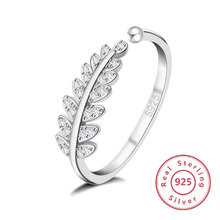 2019 Womens Fashion Leaf Jewelry Rhodium Plated 925 Sterling Silver Rings Olive Paved Open Ring engagement ring