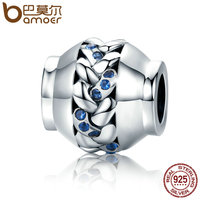BAMOER Authentic 100 925 Sterling Silver Love Interwoven Charms Blue Clear CZ Beads Fit Women Bracelets