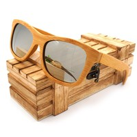 NYJ001 5 Fashion Skateboard Wood Frame Polarized Sun Glasses With Wood Retail Case For Men And