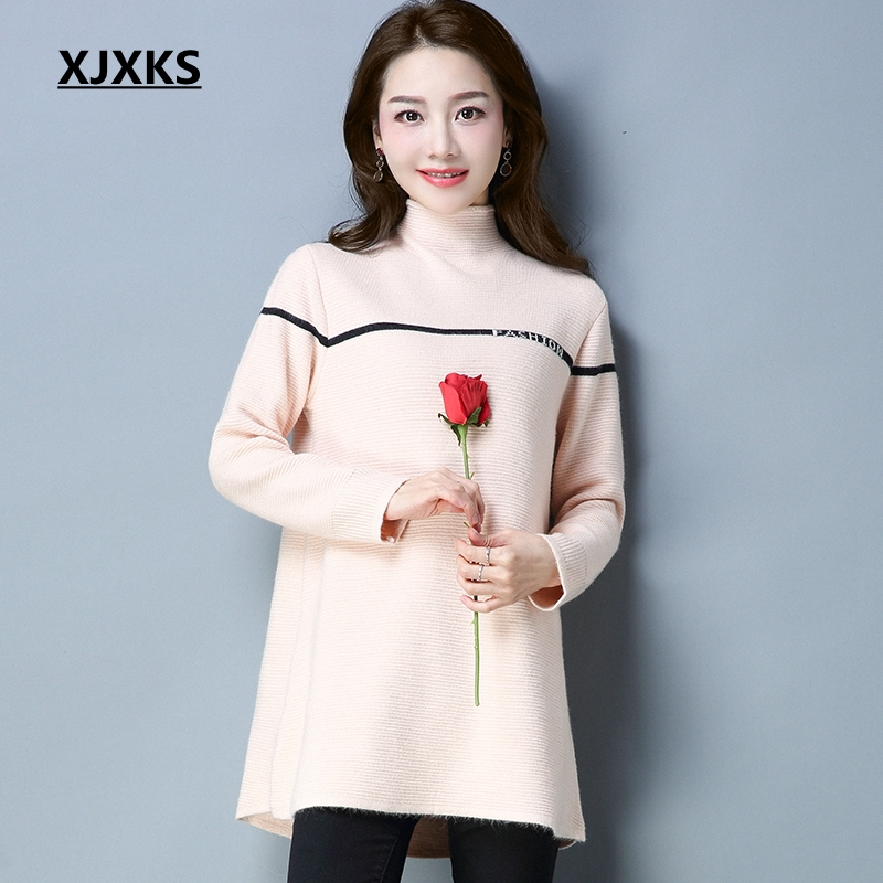 XJXKS 2018 Autumn Winter New Women Turtleneck Long Sweater Dress Loose Large Size Long Sleeved Knit Long Pullover 6 Colors