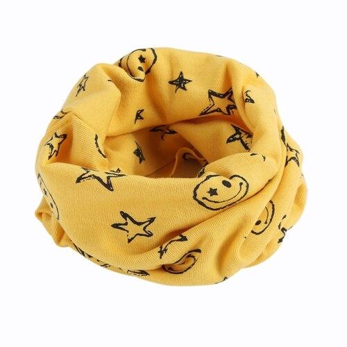 Детский Теплый хлопковый шарф-труба для мальчиков и девочек, шарф-шаль с круглым вырезом, шейный платок с рисунком улыбающегося лица и звезды - Цвет: R73-3
