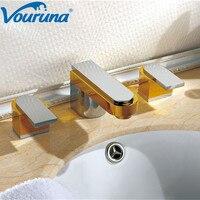 VOURUNA оптовая продажа роскошный патент дизайн латунь двойной ручки три отверстия ванная комната кран смесители