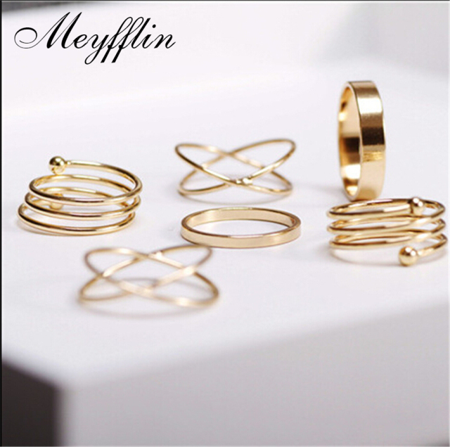 Fashion Ring Set Punk Gold Knuckle Rings for women Finger Ring 6 PCS Ring Set Ba