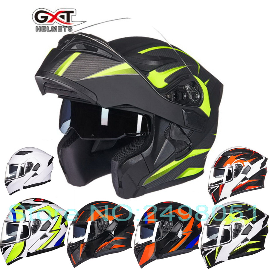2017 New GXT dual lens Flip up motorcycle helmet full-cover flip up motorbike helmets wiht Anti-fog lens seasons size M L XL 2017 new knight protection gxt flip up motorcycle helmet g902 undrape face motorbike helmets made of abs and anti fogging lens