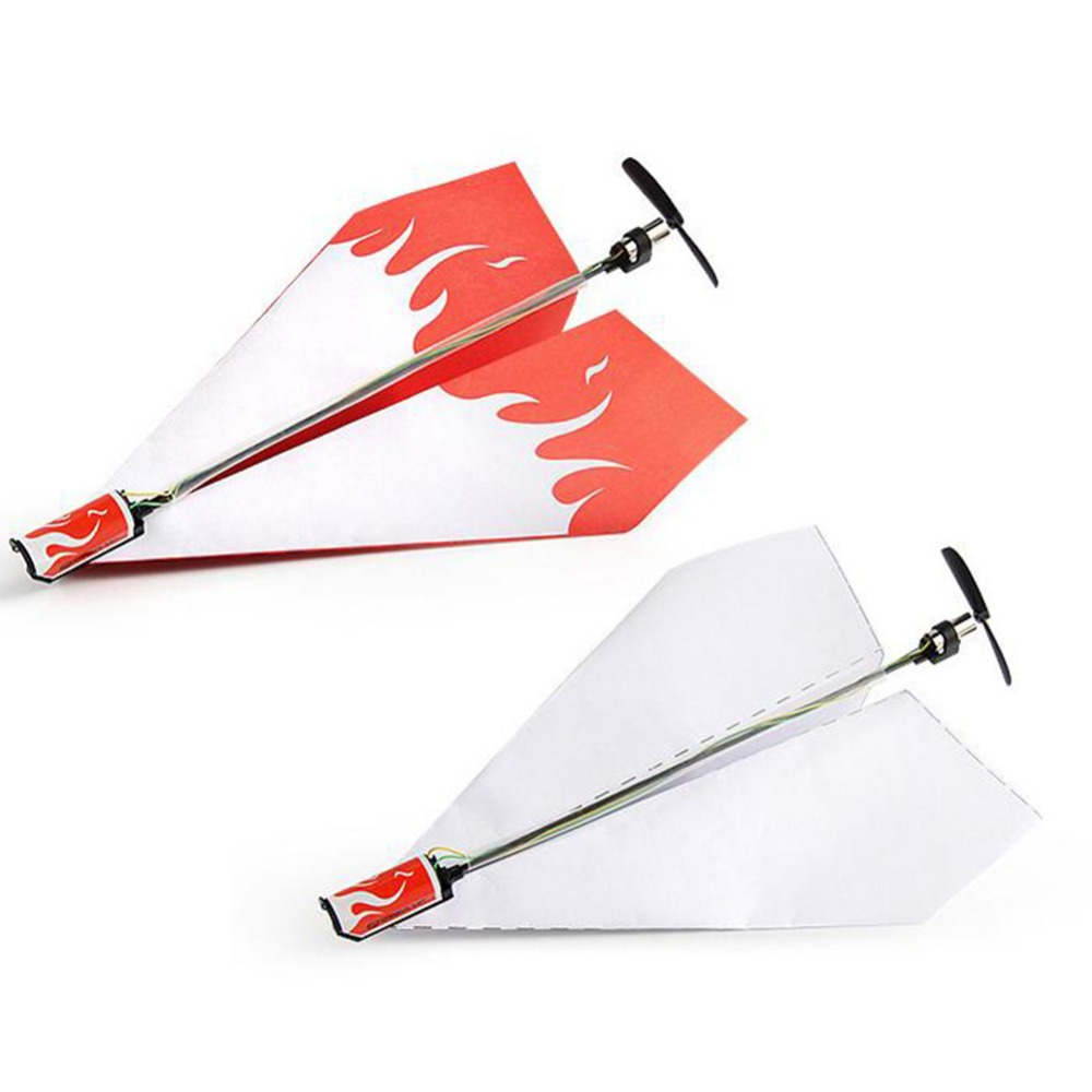 DIY Motor Powered White Paper Airplane Model Folding Paper Power Toy Diecast Airplane Model Toy Vehicle air Plane Aircraft
