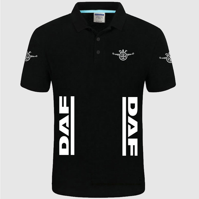 Summer High quality brand DAF logo   polo   short sleeve shirt Fashion casual Solid   Polo   Shirt unisex shirts