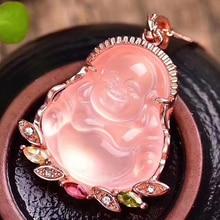 Dropshipping Natürliche Rosa Kristall Laughing Buddha Anhänger Mosaik Schlüsselbein Kette Halskette Einfache Weibliche modelle Modeschmuck