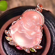 Dropshipping Natural Pink Crystal Laughing Buddha Pendant Mosaic Clavicle Chain Necklace Simple Female models Fashion Jewelry