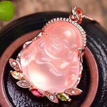 Dropshipping Natuurlijke Roze Kristal Lachende Boeddha Hanger Mozaïek Sleutelbeen Collier Eenvoudige Vrouwelijke modellen Mode sieraden