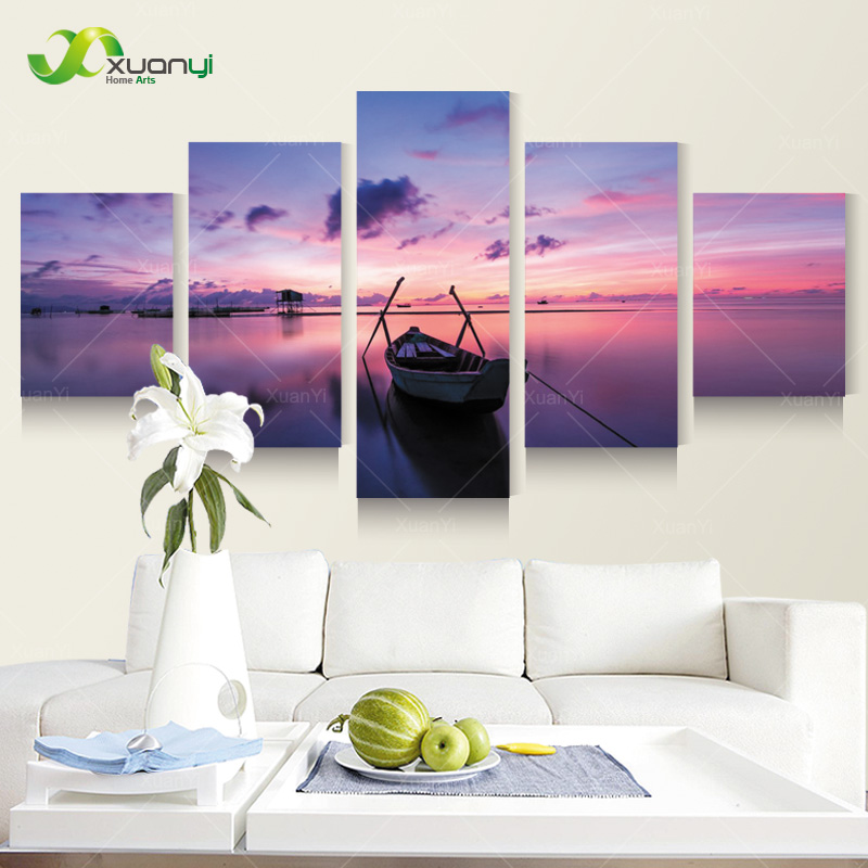 5 Panel Modern Spray Painting Seascape Beach Sunset Canvas Painting Picture Wall Art Home Decor For Living Room Unframed PF1067