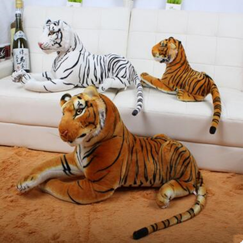 1pcs Medium 70cm 80cm Kawaii Real Life Toy Plush Stuffed Life Like Tiger Lying Posture Artificial Animal Brown White Color in Stuffed Plush Animals from Toys Hobbies