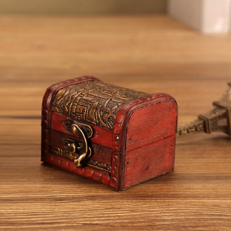 1 Pcs Fashion Vintage Jewelry Box Organizer Storage Case Mini Wood Flower Pattern Container Handmade Metal Lock Wooden Small Box