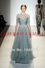 2014 auf Verkauf! elegante High Neck Appliques Tüll Abendkleider Mit Hülsen Günstige F & M731