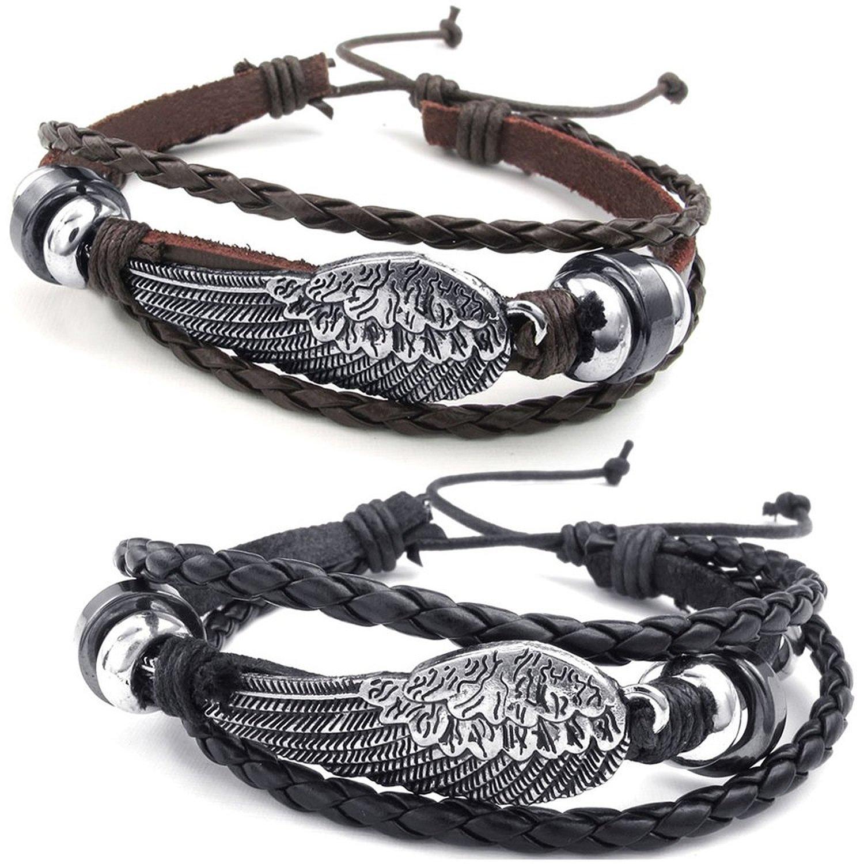 Jewelry Men's Ladies Bracelet, 2 Angels Wings Friendship Bracelet, Leather Alloy, Brown Black Silver