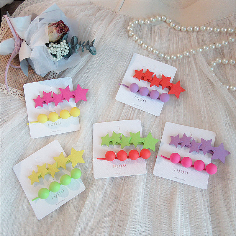 2 Pcs Korean Simple Fluorescent Color Frosted Pentagram Peas Hairpins for Girl Women Fashion Beautiful Colorful Hair Accessories
