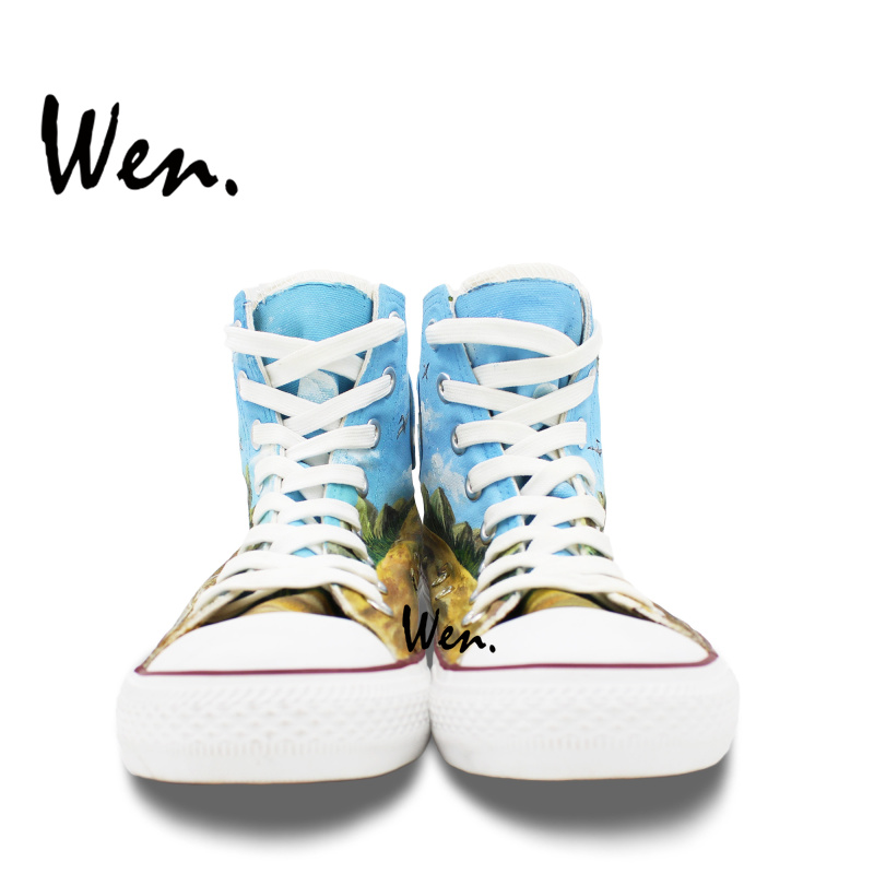 Wen Design Custom Hand Painted Shoes Dinosaurs High Top Canvas Sneakers Men  Women s Christmas Birthday Gifts-in Skateboarding from Sports    Entertainment on ... 4f685c7b2dc3