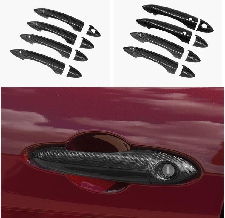 Carbon Fiber Car Door Handle Grab Cover Trims For Alfa