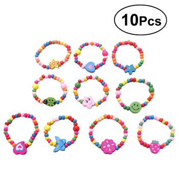 10pcs Natural Wood Kids Elastic Wooden Beads Bracelets Children Girls Party Gift (Random Color)