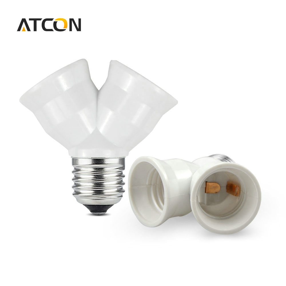 1pcs fireproof material e27 to 2 e27 lamp holder converter socket conversion light bulb base Light bulb socket