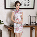 New Design Floral Print Qipao Party Dress for Women Retro Slim Cheongsam Summer Traditional Chinese Dress