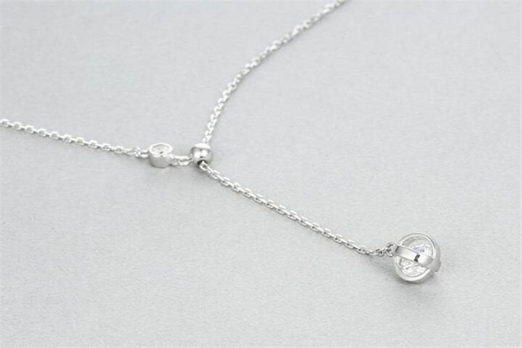Simple Zircon 925 Sterling Silver Round Bead Choker Necklaces & Pendants For Women Chain Necklace Gift Fashion Fine Jewelry N092